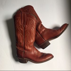 Size 8 D Vintage Frye Red Leather Western Boots